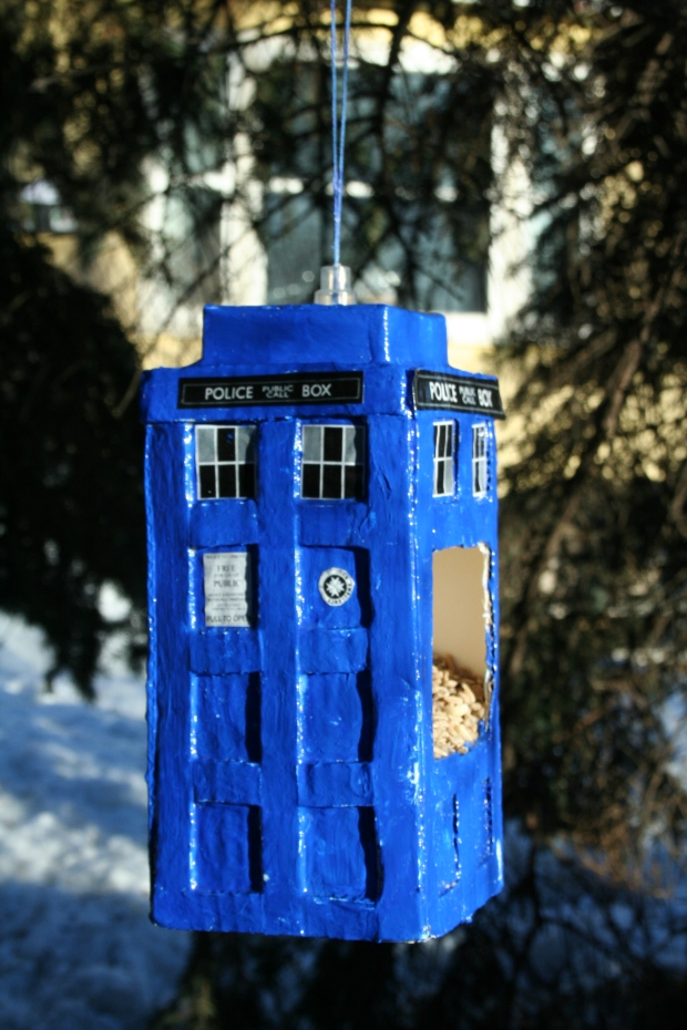 Tardis Bird Feeder Garden Craft by Marlene Wurfel